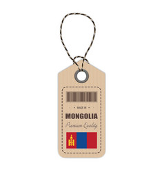 hang tag made in mongolia with flag icon isolated vector image