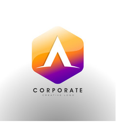 letter a logo corporate hexagon with letter a vector image vector image