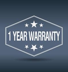 1 year warranty hexagonal white vintage retro vector