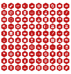 100 sandwich icons hexagon red vector