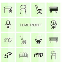 14 comfortable icons vector