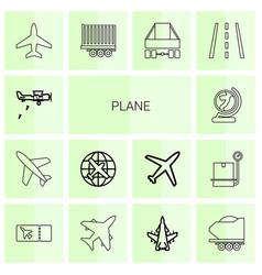 14 plane icons vector