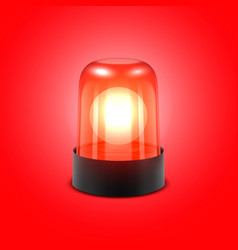 3d realistic red turn on police flasher vector image
