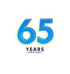 65 years excellent anniversary celebration blue vector