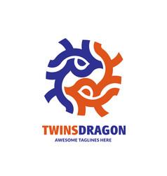 abstract twins dragon circle geometric vector image
