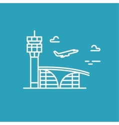 Airport building Plane taking off line vector image