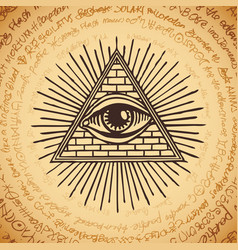 all-seeing eye of god inside triangle pyramid vector image