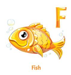 Alphabet letter f fish vector