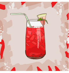 Background with glassware jar with watermelon vector