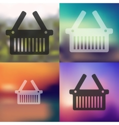 Basket icon on blurred background vector
