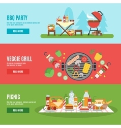 Bbq party banner set vector