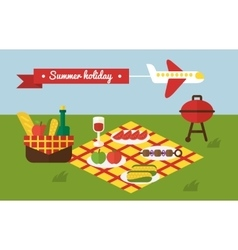 BBQ party Barbecue summer picnic Invitation vector image