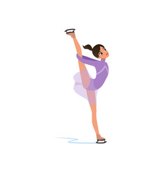 Beautiful flexible figure skater girl in short vector