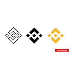 binance coin icon 3 types color black and vector image
