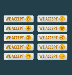 Bitcoins are accepted here icons in a flat style vector