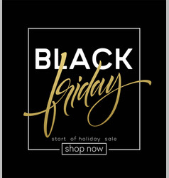 black friday lettering sale discount banner vector image