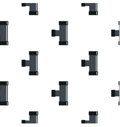 Black joint t pipe connection pattern flat vector