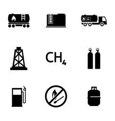 Black natural gas icons set vector