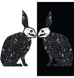 Black rabbits vector