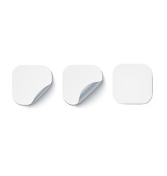blank white adhesive stickers with curled corners vector image