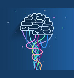 brain is connected to network vector image