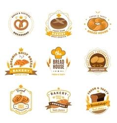 Bread Bakery Emblems Flat Icons Set vector