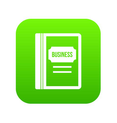 business book icon digital green vector image