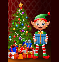 christmas background with elf holding gift box vector image