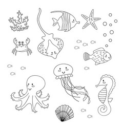 coloring page for kids set of sea animals vector image