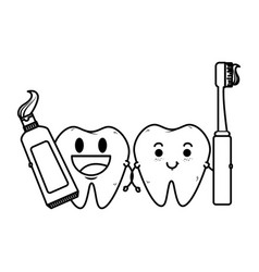 Comic teeth couple with brush and paste characters vector