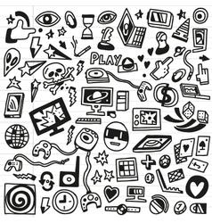 Computer games - doodles set vector