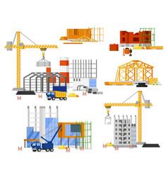 Construction site building set tower truck crane vector