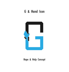 creative g alphabet icon abstract and hands icon vector image
