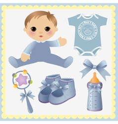 Cute collection of baby design elements vector image