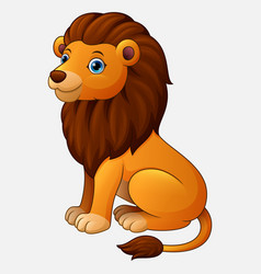cute lion sitting cartoon isolated on white backgr vector image