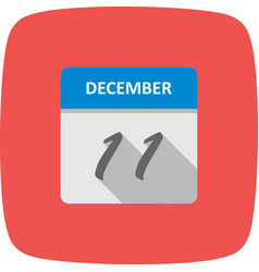 December 11th date on a single day calendar vector
