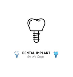 Dental implant icon prosthetic dentistry logo vector