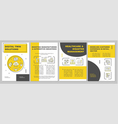 Digital twin solutions brochure template vector