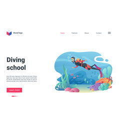 diving school landing page diver swimming in vector image