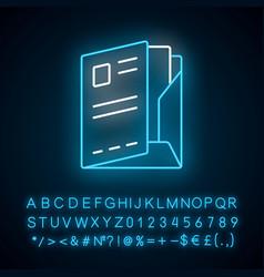 Document folder paper case neon light icon vector