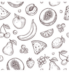 doodle fruits seamless pattern sketch fresh vector image