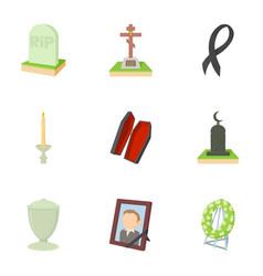 exequies icons set cartoon style vector image