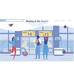 family or friends characters meeting at airport vector image