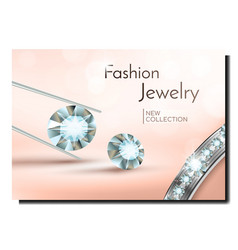 Fashion jewelry creative promotional banner vector
