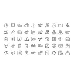 finance bank money icons set thick line vector image