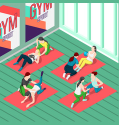 Fitness trainers isometric background vector