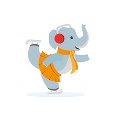 flat elephant character ice skating vector image