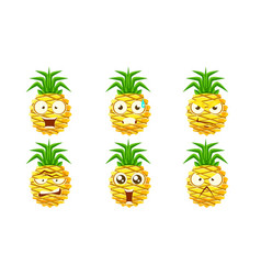 funny pineapple character set cute tropical fruit vector image