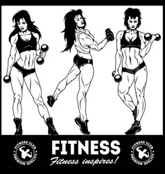 girls with dumbbells - beautiful fitness girls vector image