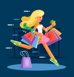 happy woman with shopping bags hurry to make vector image